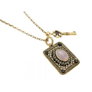Plate and Amethyst Necklace